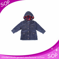 manufacturer baby boys denim jacket with cap and lots of pockets china