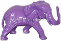 Purple shinny smaller size Africa elephant resin sculpture office table decor