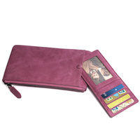 European Style Fashion Women's Genuine Leather Violet Purse Wallet Lady Card Purse Checkbook Phone Long Wallet Photo Slim Purse