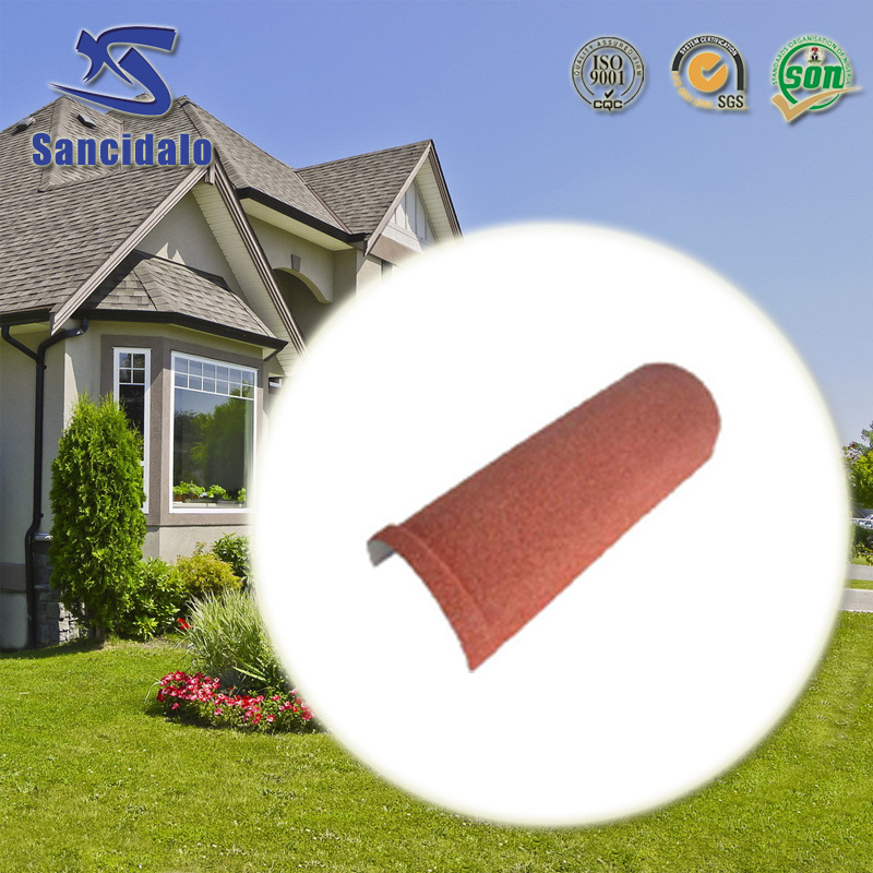 Natural slate stone chip coated metal roof tile