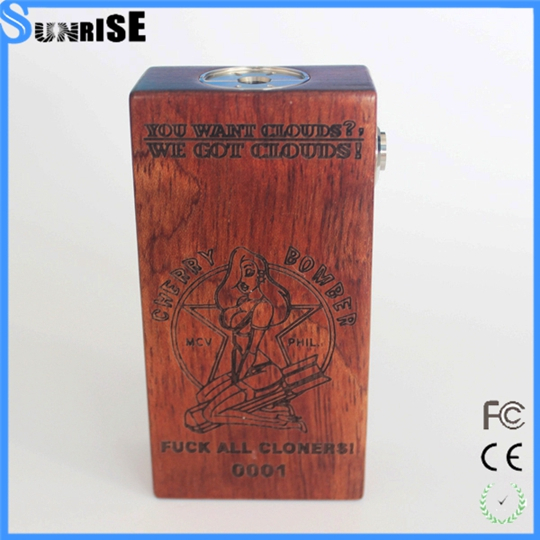 free gift box Dual 18650 e cigarette box mod /wooden cherry bomber box mechanical mod clone