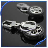 Black leather tire detachable promotional custom keyrings