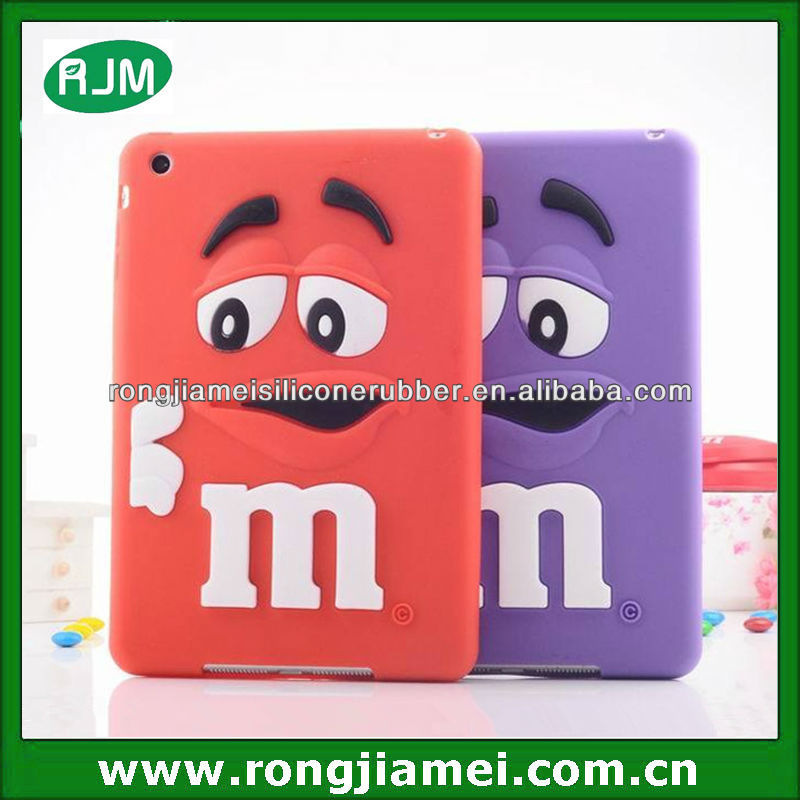 Popular M chocolate bean case cover for IPAD mini mini 2 silicone material