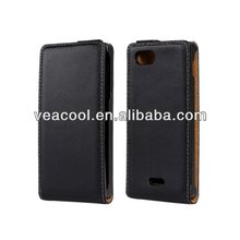 Flip Real Leather Case Cover for Sony Xperia J ST26i Case