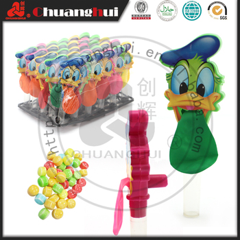 Cartoon Duck Balloon Toy Candy with Whistle