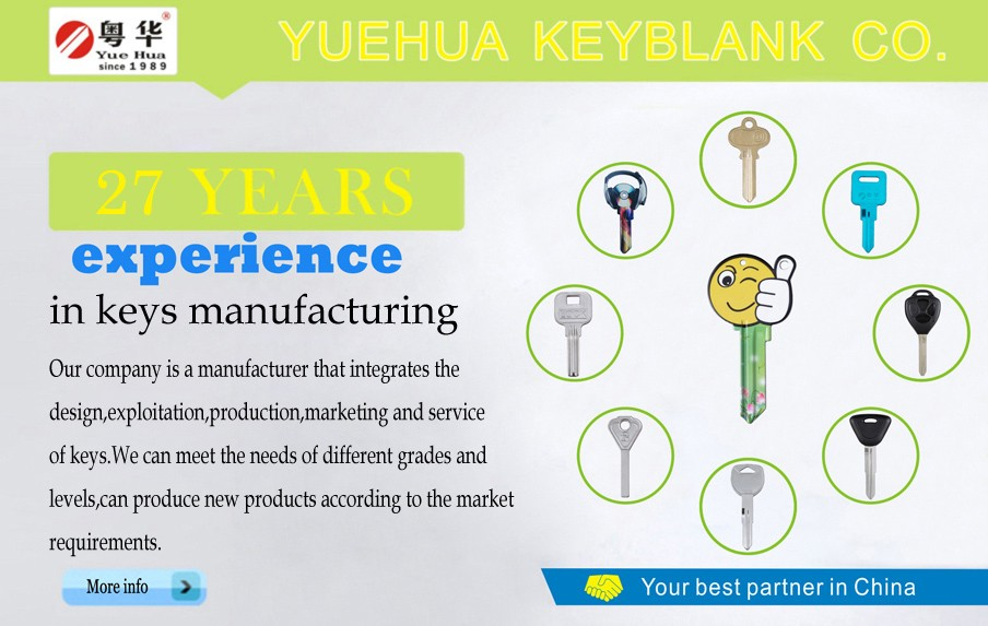 2016 Welcome OEM YUEHUA aluminium House Key blank for key machine