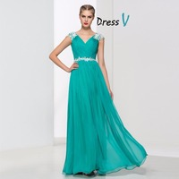 2016 Cap Sleeves With 30D Chiffon A Line V Neck Appliques Designer Evening Dress Patterns