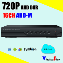 16ch 720P AHD DVR 3 in 1 hybrid support analog camera ip camera mobile view network surveillance video recorder