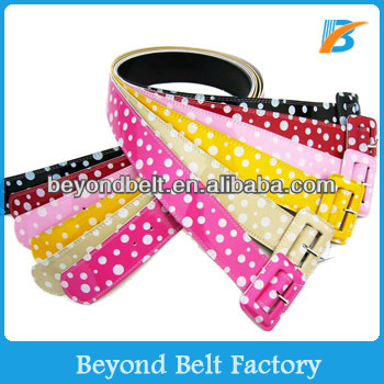 "Women's 2"" High Waist Candy Color Dot Print Patent Leather Belt"
