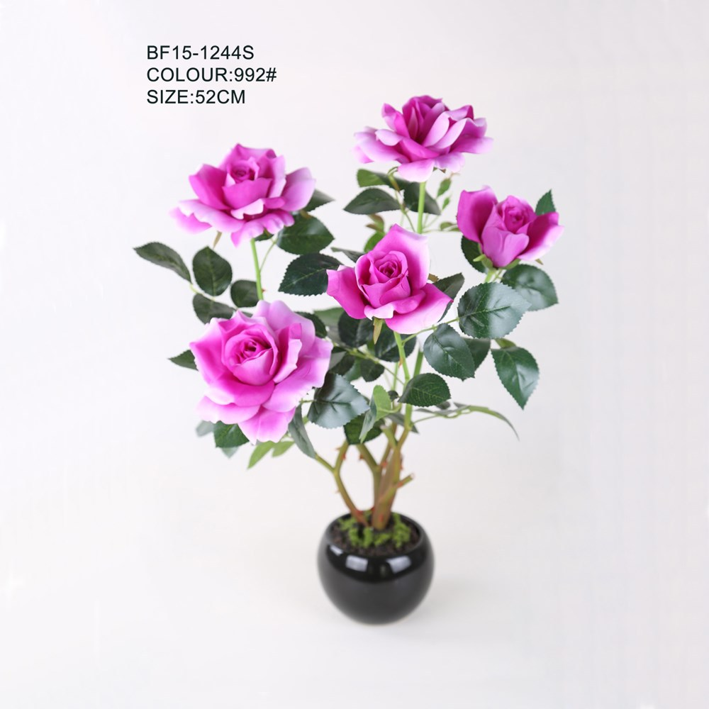 52 CM Elegant Purple Wedding Decor Artificial Rose Flower in Ceramic Pot