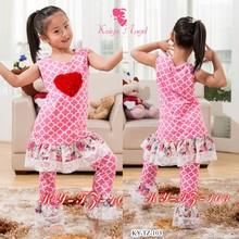Kaiya spring Valentine's day pink children clothes with heart in front clothing factories in china