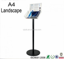 Best selling products acrylic floor stand a4 brochure / book holder