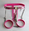 Pink Stainless Steel and Silicone Male Chastity Device Belt Hot Sex Toys Adult Product