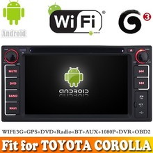 Pure android 4.4 system car dvd gps navigation fit for TOYOTA COROLLA 2000 - 2006 WITH CHIPSET WIFI 3G INTERNET DVR OBD2 SUPPORT