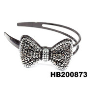 girls resin crystal plastic bow plastic headband to decorate