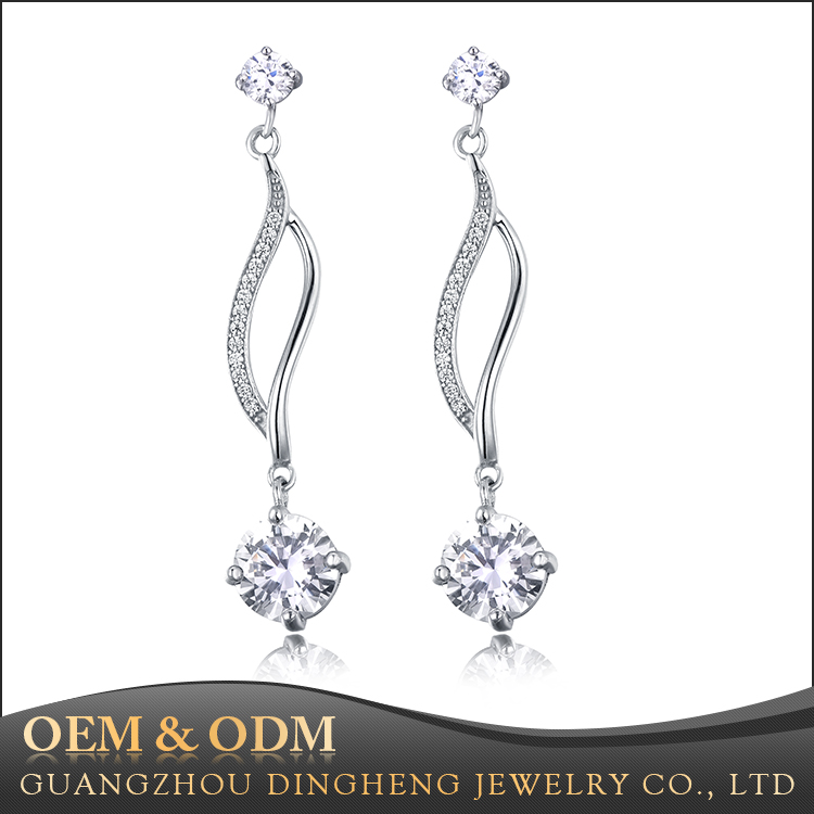 Latest Design Fashion Jewelry 925 Silver Hanging Drop Pave Diamond Earrings For Ladies
