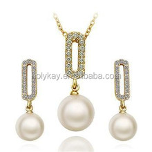 dubai gold plated jewelry imitated pearl jewelry set jewelry gold