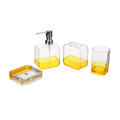 The popular double color clear acrylic plastic toothbrush holder accessory 4pcs bathroom set