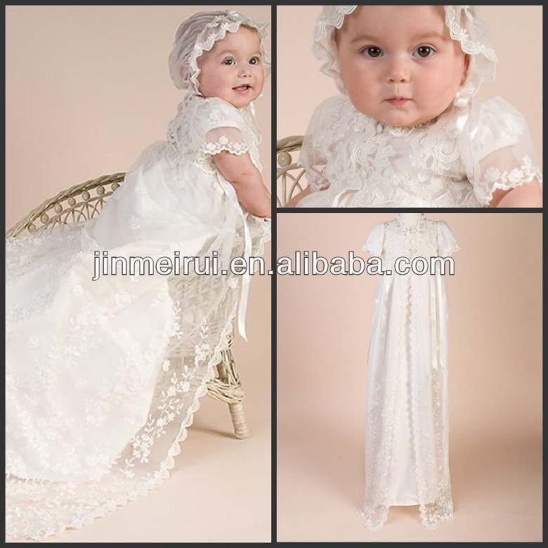 Lovely Baby Dresses White Lace Tulle Appliqued Beaded With Hat Most Fashion Short Sleeve White Flower Girl Dresses With Train