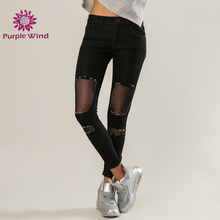 comfort fit fashion outlook denim ripped urban style new trend skinny soft cotton jeans for women