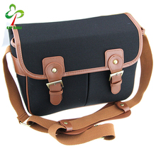 New fashion waterproof leather canvas camera bag, DSLR SLR camera shoulder bag for Canon Sony Nikon