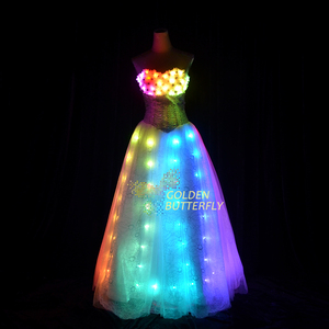 LED Dress new lady Luminous Princess Dress Wedding Women Dress led light Clothing Bar fashion Skirt Ballroom Dance clothes