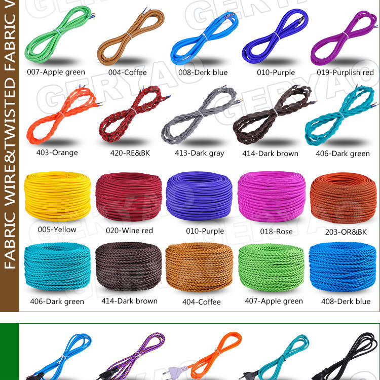 Colourful fabric braided textile electrical cable with plug, cord ...