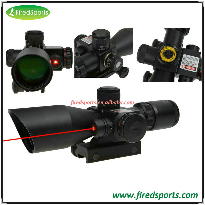 GSP5206--Hot Sell High Quality 2.5-10x40 Tactical Rifle Scope Mil-dot Dual Illuminated w/ Red Laser & Mount New
