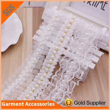New Fashion Designs White Bead Tape Pearl Beaded Lace Trim For Wedding Dress