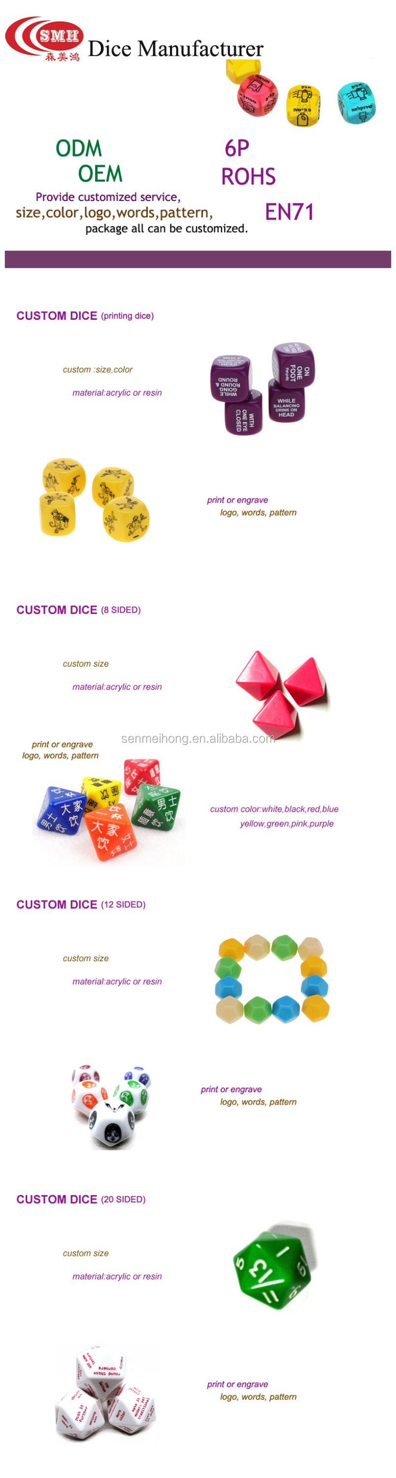 Personalizzato Plastica Colorata Multi-sided polyhedral RPG Dadi