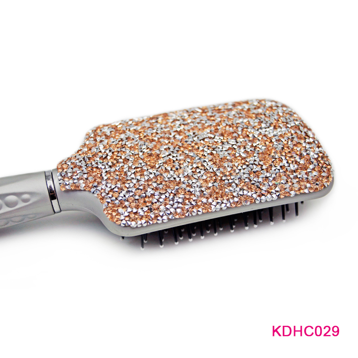 Fashion Luxury Crystal Bead Cheap And Durable Bulk Silver Paddle Brushes Hairdressing Hiar Combs