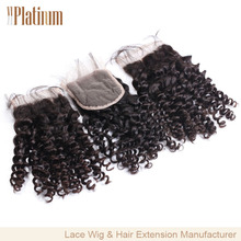 Free Parting Virgin Brazilian Hair Kinky Curl Lace Closure With Bleached Knots