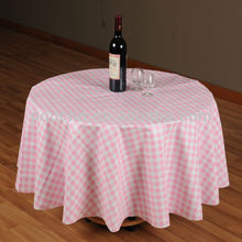 light pink plaid round style PVC table cloth