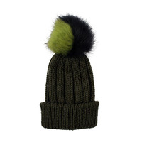Lady's foldable Knitted Plain Solid Color Bobble Hat Beanie Hat