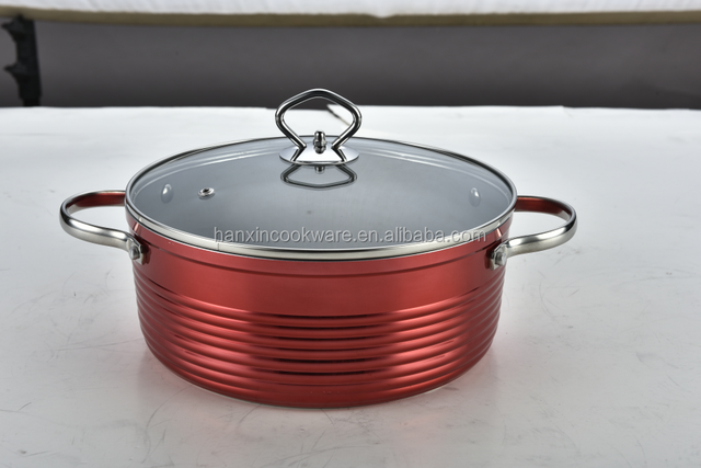 2017 red newest copper metallic coating casserole with ss handles
