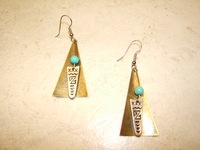 Dangle Southwestern Earrings with Turquoise Bead in Silver and Goldtone Plate and Antique Finish, #11178-4