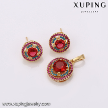 64267 Xuping jewellery shop counter design images colorful round 18k gold jewelry set China wholesale