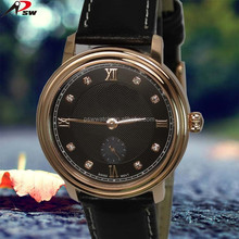 New design genuine leather de longe quartz watch stainless steel watch men 2016