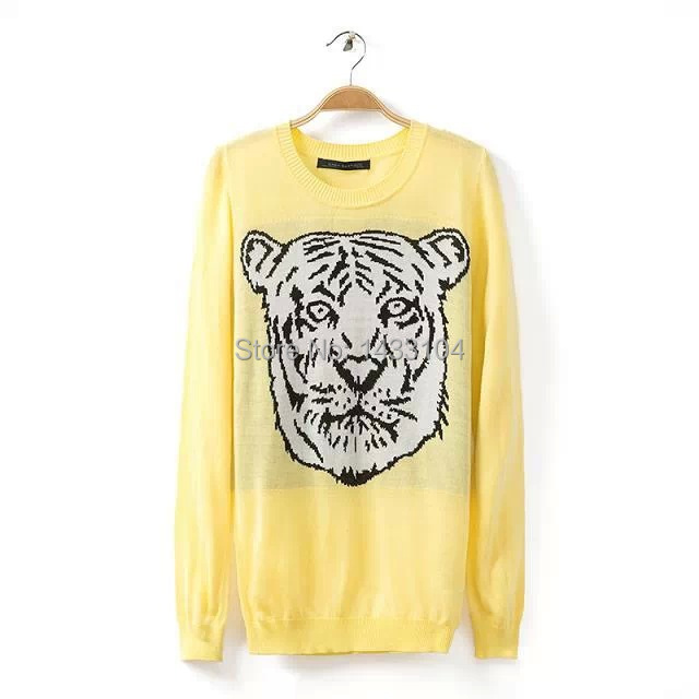 European style Desigual Embroidery tiger head Sweater tiger Long sleeve Animal Female Sleeve head Sweater