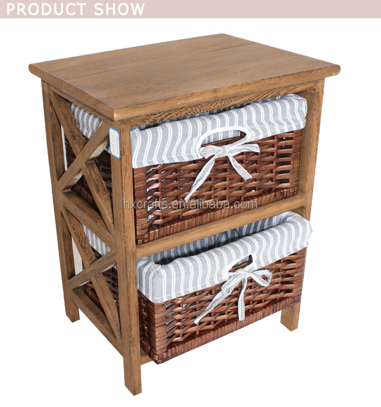 indian bone inlay retro furniture bedside small cabinet with 2 wicker baskets