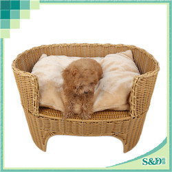durable indoor rattan two layer pet bed PE wicker dog bed