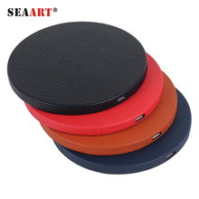 Wholesale Leather Face Wireless Charger Fast QI Charging Pad Station For Mobile Cell Phone Portable Smartphone Samsung