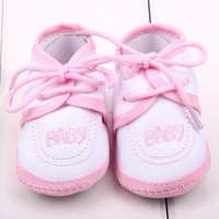 Christening satin baby shoes fashion light pink baby ballet shoes