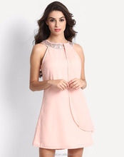 Elegant Peach Sleeveless Zipper Back Overlap At Front Women's Sequined Shift Dress