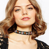 Beauty Ethnic Boho Embroidery Ribbon Flowers Choker Collar Necklace Jewelry