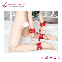 QTS Under bed bondage restraint system pu leather handcuffs leg irons cross buckle sex game tool BDSM bondage sex toys for women