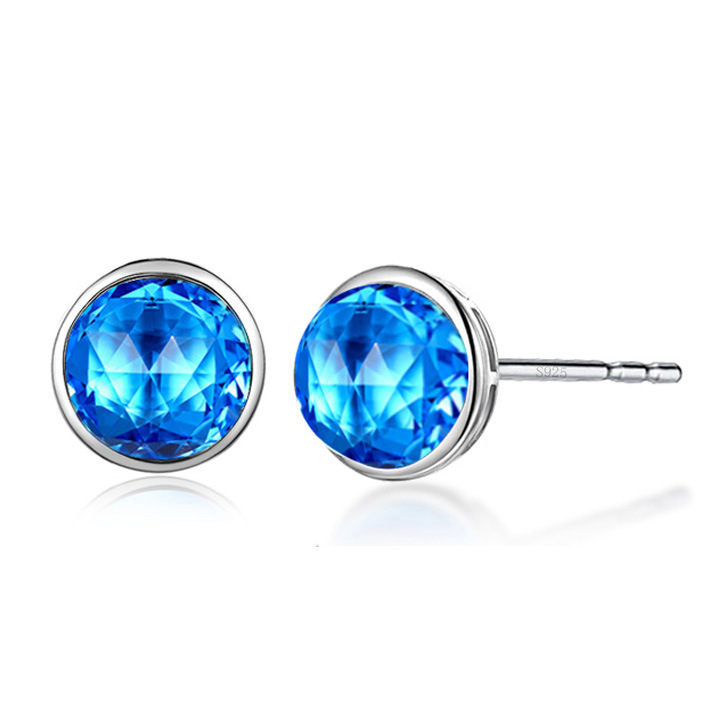 J100 crystal Earing White Gold Pated Silver Color Zircon stud gemstone <strong>Earring</strong>