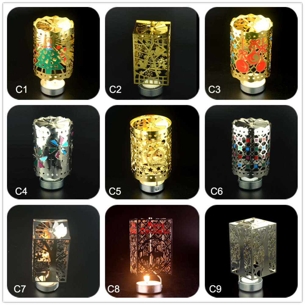 Metal stars tea light powered spinning candle holder decoration spin in shenzhen kingzim