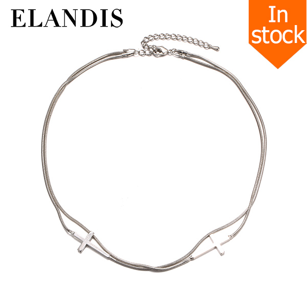 E-ELANDIS Trendy Punk Style Choker Necklace for Women Silver Plated Christmas Cross Vintage Necklace Fashion Jewelry NL15097