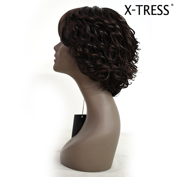 10 inch machine made wig natural color hot sale for black women short curly synthetic machine made hair wigs